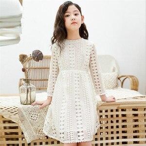 Kids Dresses Teenage White Blue Wedding Party Dress Lace Girl Dress Long Sleeve Children Clothing Spring Autumn 6 8 10 12 14 16(China)