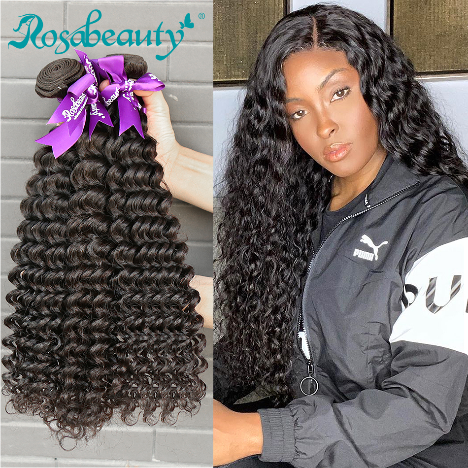 Rosabeauty Deep Wave 8 - 28 30 Inch 3 4 Bundles Brazilian Remy Hair 100% Human Hair Extension Nature Closure Weave Curly