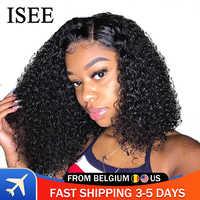 Pelucas delanteras de encaje ISEE para mujeres peluca Frontal de encaje Remy peluca Frontal de encaje rizado Bob 360 peluca Frontal de encaje brasileño pelucas de cabello humano corto rizado