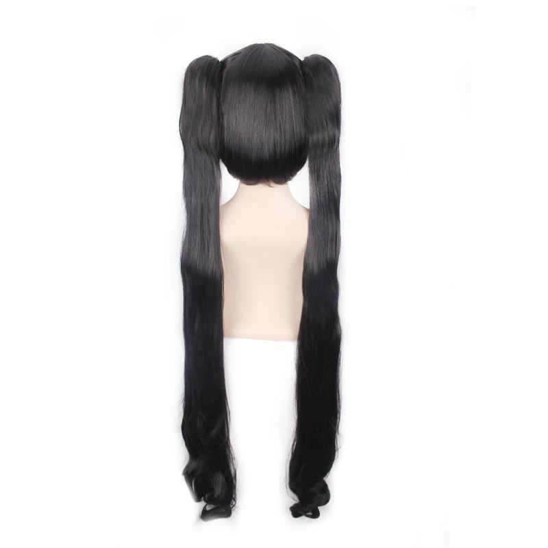 Espada Oratoria Kami Sama Hestia negro suelto Cola de Caballo largo ondulado Cosplay peluca sintética resistente al calor + TAPA DE peluca gratis