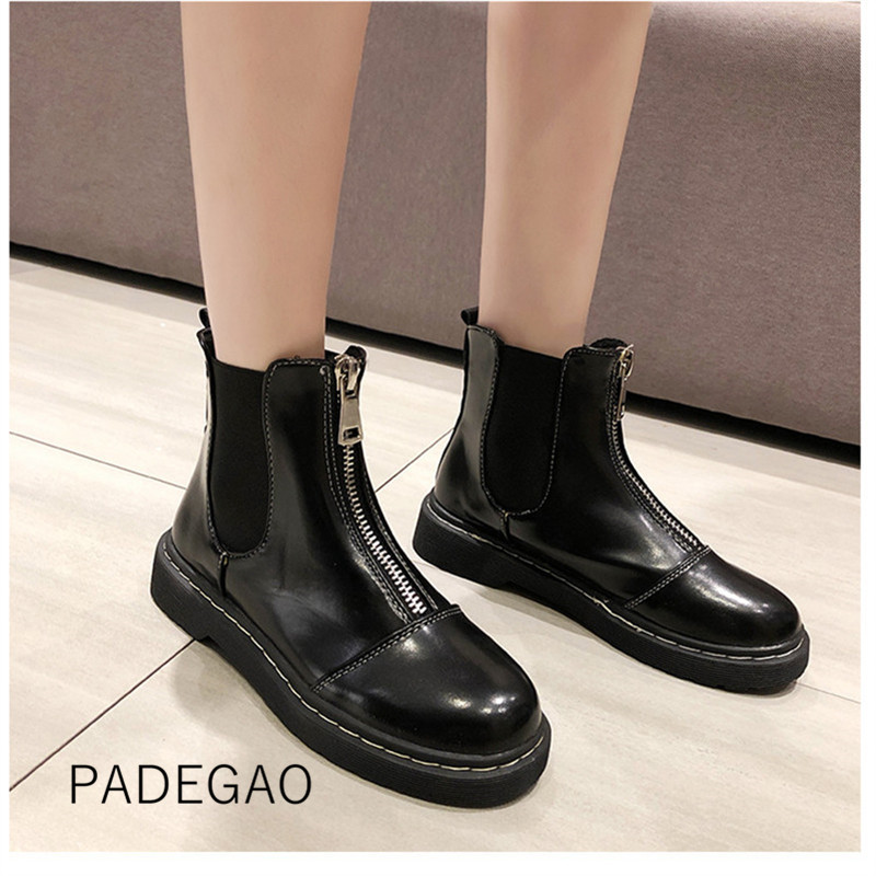Womens Boots Motorcycle-Boots Zippers Fashion Winter Ankle