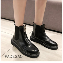 Womens Boots 2019 Fashion Motorcycle Boots for Women Winter Ankle Boots for Women Zippers Black Boots