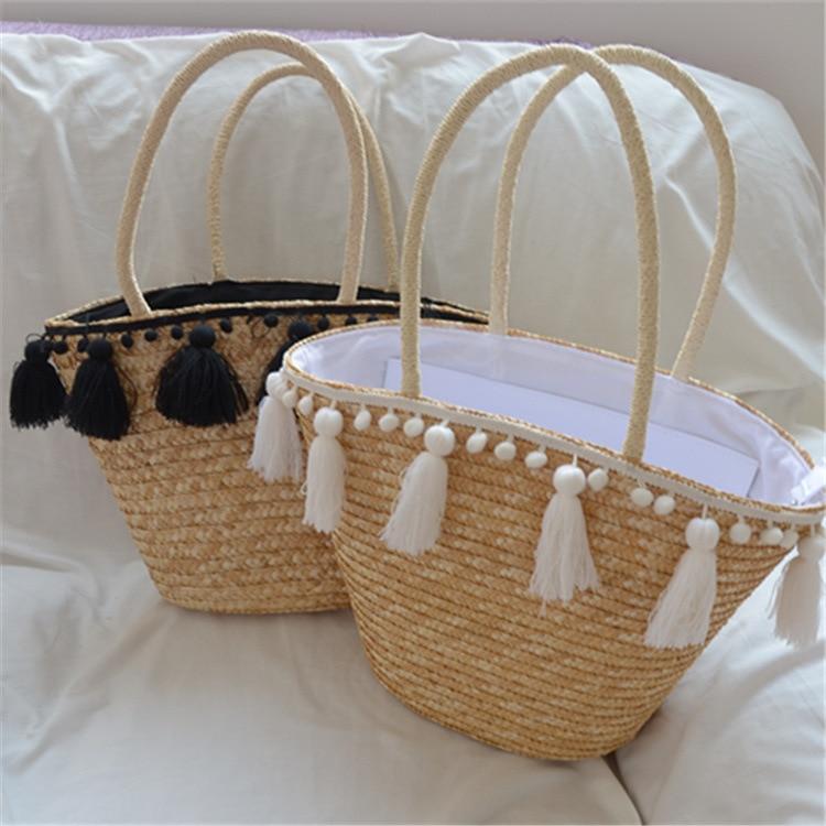 2020 Fashion New Tassel Handbag High Quality Straw Bag Women Beach Woven Bag Tote Fringed Beach Woven Shoulder Travel Bag