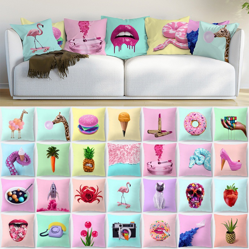 Single-side Pink Animal Polyester Decorative Pillowcase Giraffe Snake Cute Cartoon Cat Red Lips Rainbow Camera Cushion Cover Car