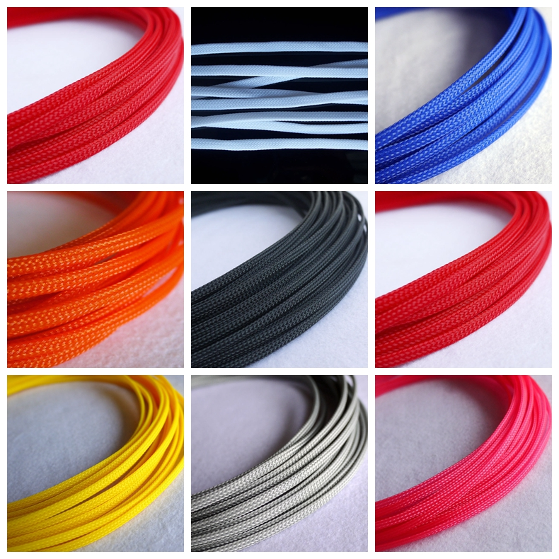 6mm BLACK RED Expandable Braided DENSE PET Cable Sleeve