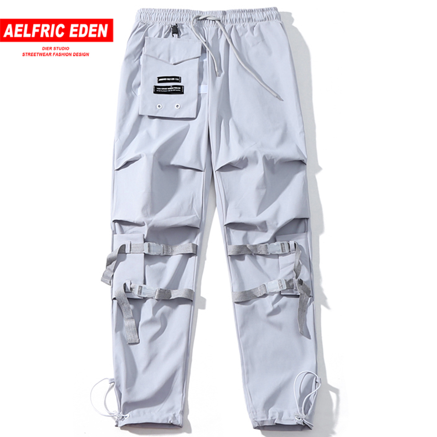 Aelfric Eden Velcro Pockets Hip Hop Cargo Pants Mens Streetwear Harajuku Casual Ribbons Male Harem Trousers Joggers Sweatpants