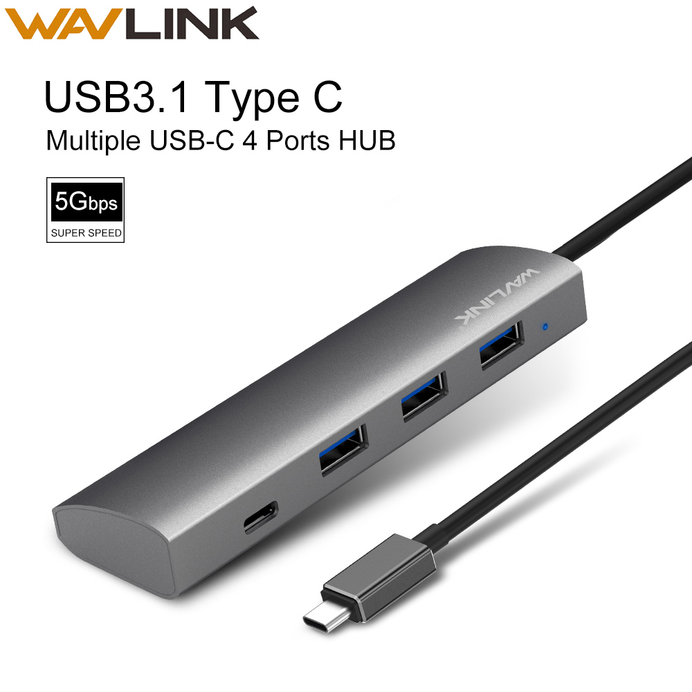 Wavlink <font><b>4</b></font> <font><b>Ports</b></font> <font><b>USB</b></font> <font><b>Hub</b></font> 3.0 <font><b>USB</b></font>-C Splitter Aluminum High Speed 5Gbps <font><b>USB</b></font> 3.1 Type C <font><b>Hub</b></font> Plug & Play For MacBook Notebook image