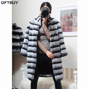 Image 1 - OFTBUY Chaqueta de invierno de lujo para mujer, abrigo de piel Real, prendas de vestir de piel de conejo Rex Natural a rayas gruesas y cálidas con cuello levantado, ropa de calle 2020