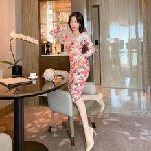 Женские осенние 2020 Новые Вечерние платья с длинными рукавами