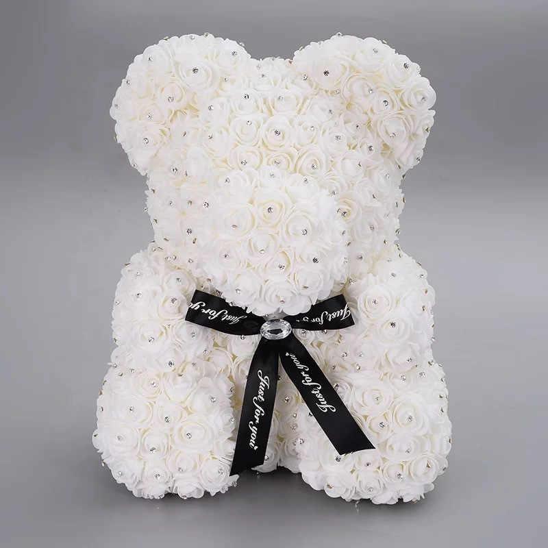 Diamant Rose ours en peluche avec pierre Roses artificielles Roam Roses fleur diamants ours Rose saint valentin cadeaux fête des mères