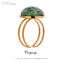 Yhpup Temperament Green Natural Stone Opening Rings for Women Stainless Steel Punk Jewelry Statement Metal Ring Anillos Mujer