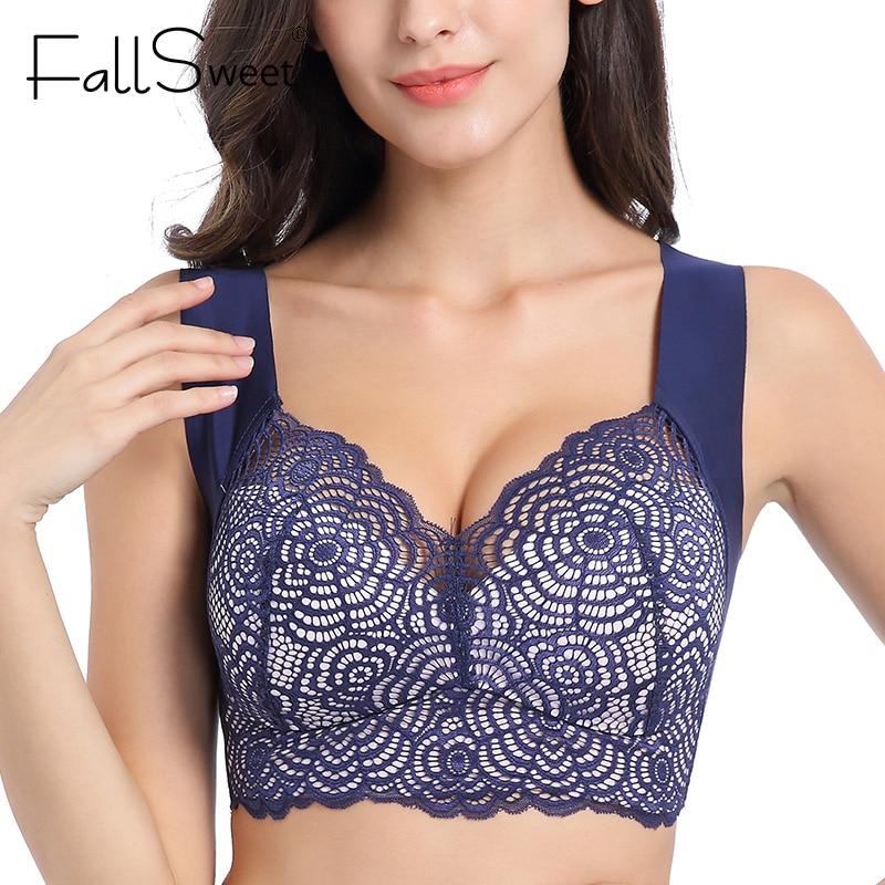 FallSweet Wire Free Lace Bras For Women Plus Size Vest Lingerie Thin Cup Brassiere Eveyday Wear