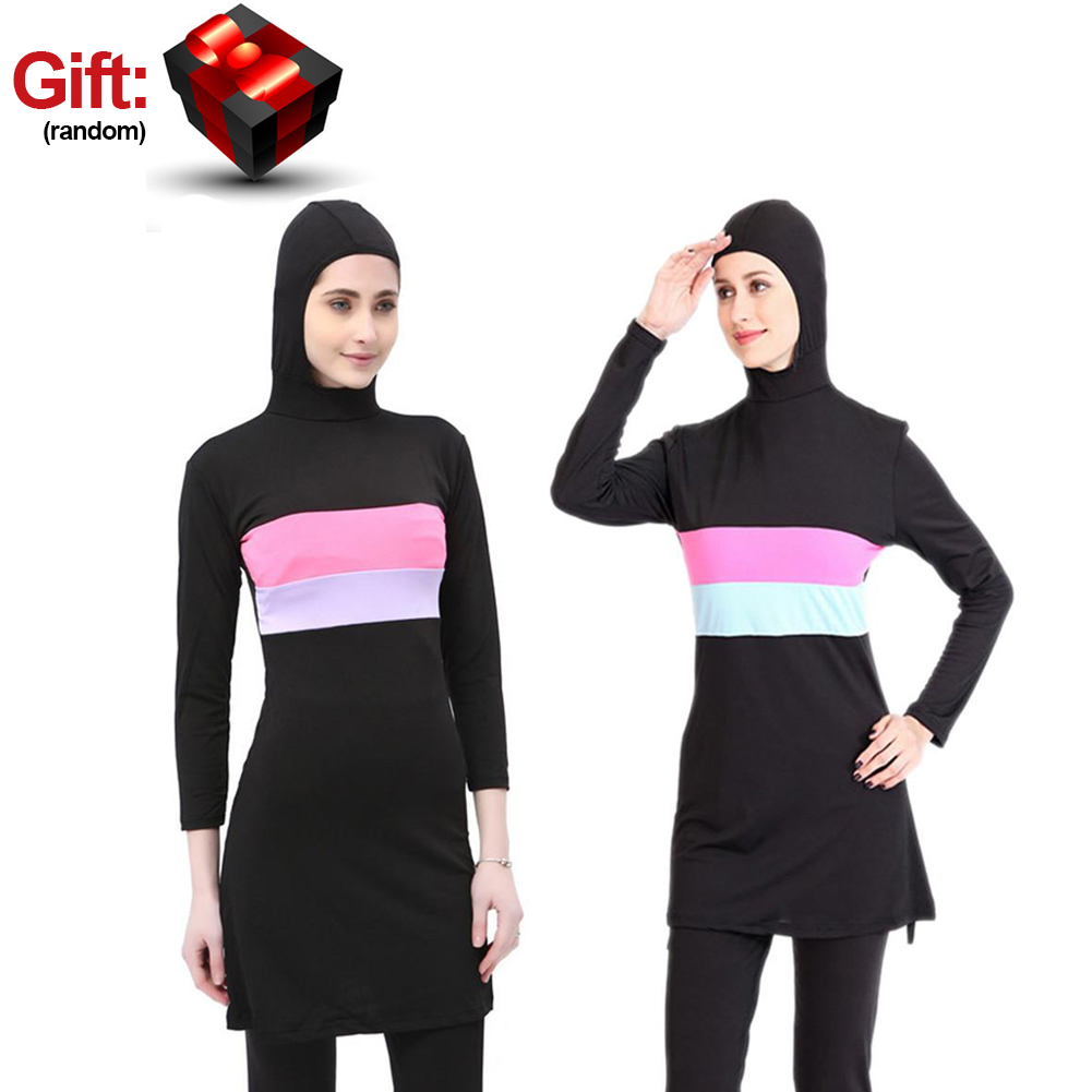 Women Long Sleeve Beachwear For Muslim Contrast Color Hooded Arab Hijab Islamic Swim Surf Wear Burkinis Suit Swimsuit Plus Size
