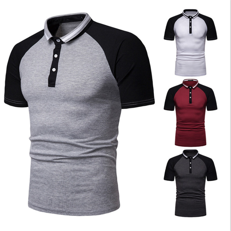 Dropshipping Mens   Polo   Patchwork Slim Fit Short Sleeve   Polo   Shirt Men Casual Clothes