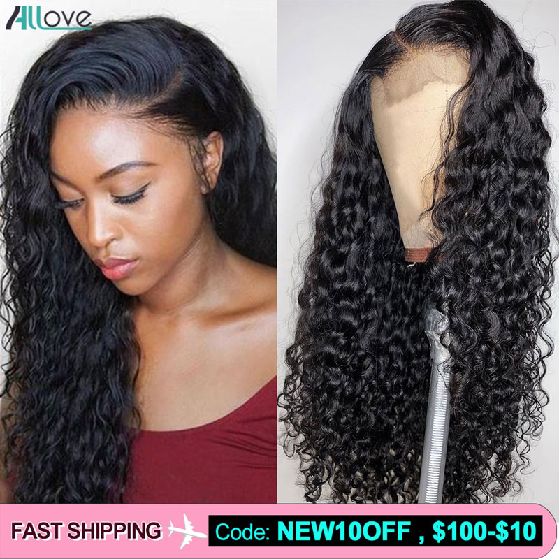 Allove Brazilian Water Wave Wig 13X4 Lace Front Human Hair Wigs Pre Plucked Natural Hairline 180 250 Density Lace Wig For Women
