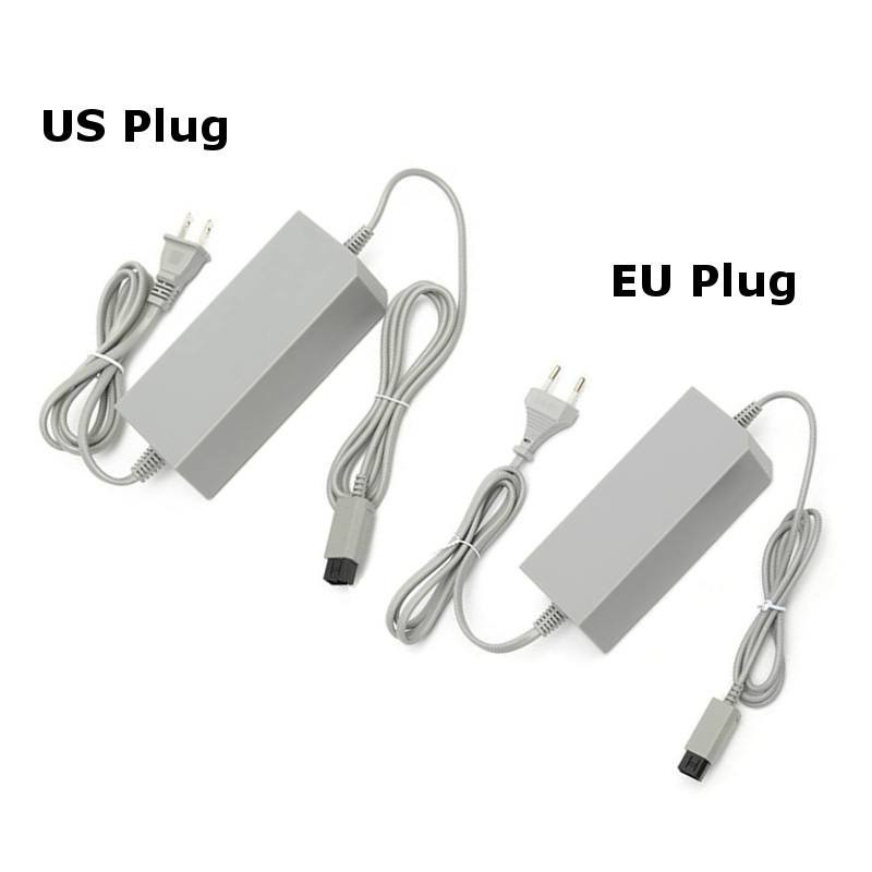 AC Power Adapter 100-240V Supply Cord Cable EU US Plug for Nintendo-Wii Console Home Replacement Wall Power Adapter Gray