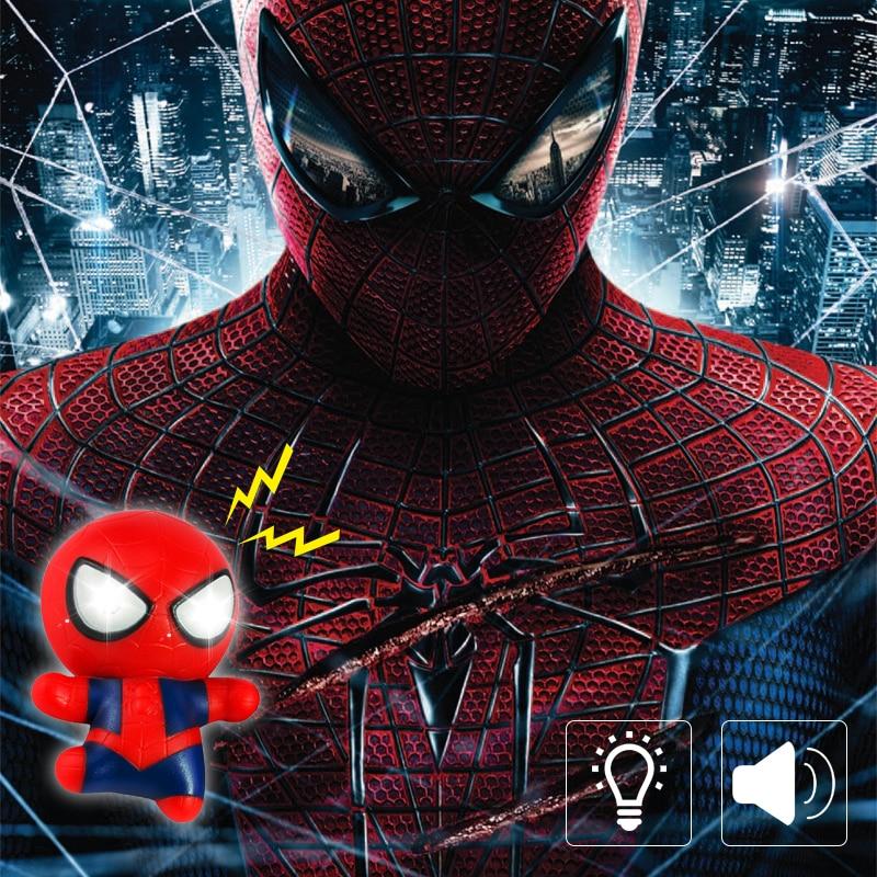 Avengers Superhero Spiderman With Shield LED Keychain,Sound Key Rings Man Cool Flashlight Car Keychain Children's Gift