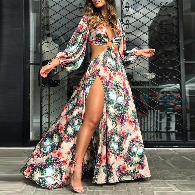 Women Summer Fall  Floral Print Cutout Thigh Slit Maxi Dress Holiday Vocation Boho Beach Long Dress Sexy Backless Party Vestidos 4
