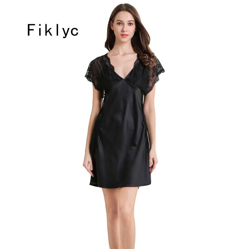 Fiklyc Underwear Women's Short Sleeve Sexy Thin Style Mini Nightgowns Luxury 2019 Deep V-neck Satin Nightdress Sleepwear HOT