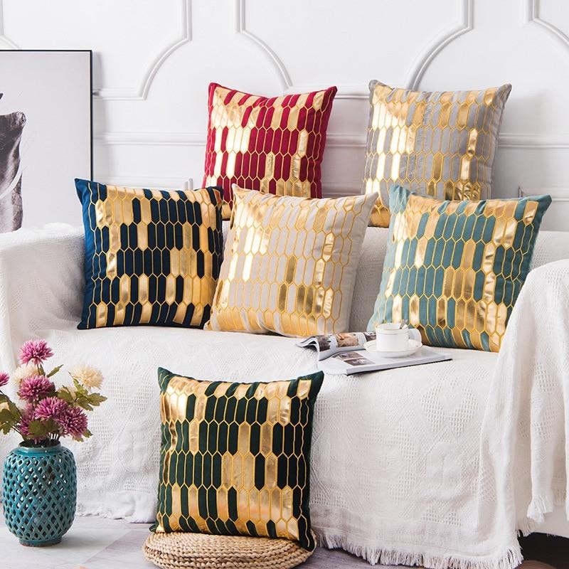 Luxurious Golden Bronzing Thick Velvet Pillow Cushion Cover Gold Geometric Kussenhoes Coussin Decor Home Decorative Funda Cojin