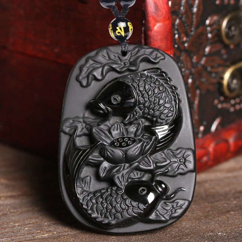 Natural Obsidian Fine Carving Two Fish And Lotus Black Obsidian Necklace For Women Men Party Fine Jewelry Pendant