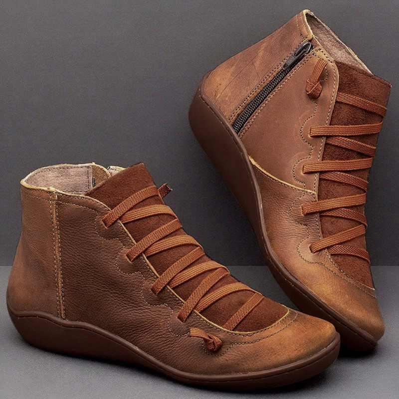 Womens botas de couro tornozelo rendas até booties tamanho grande cinta transversal apartamentos inverno neve 2020 queda sapatos femininos curto com pele