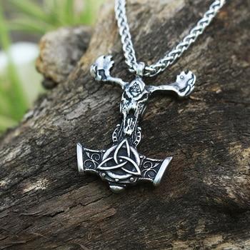 10pcs Men stainless steel  viking goat head pendant thor's Skull goat hammer mjolnir necklace  norse talisman ethnic jewelry