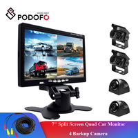 Podofo 7 Split Screen Quad Car Monitor TFT LCD Display 4 CH Backup Camera Kit for Reversing Camera System +4 Rear View Cameras