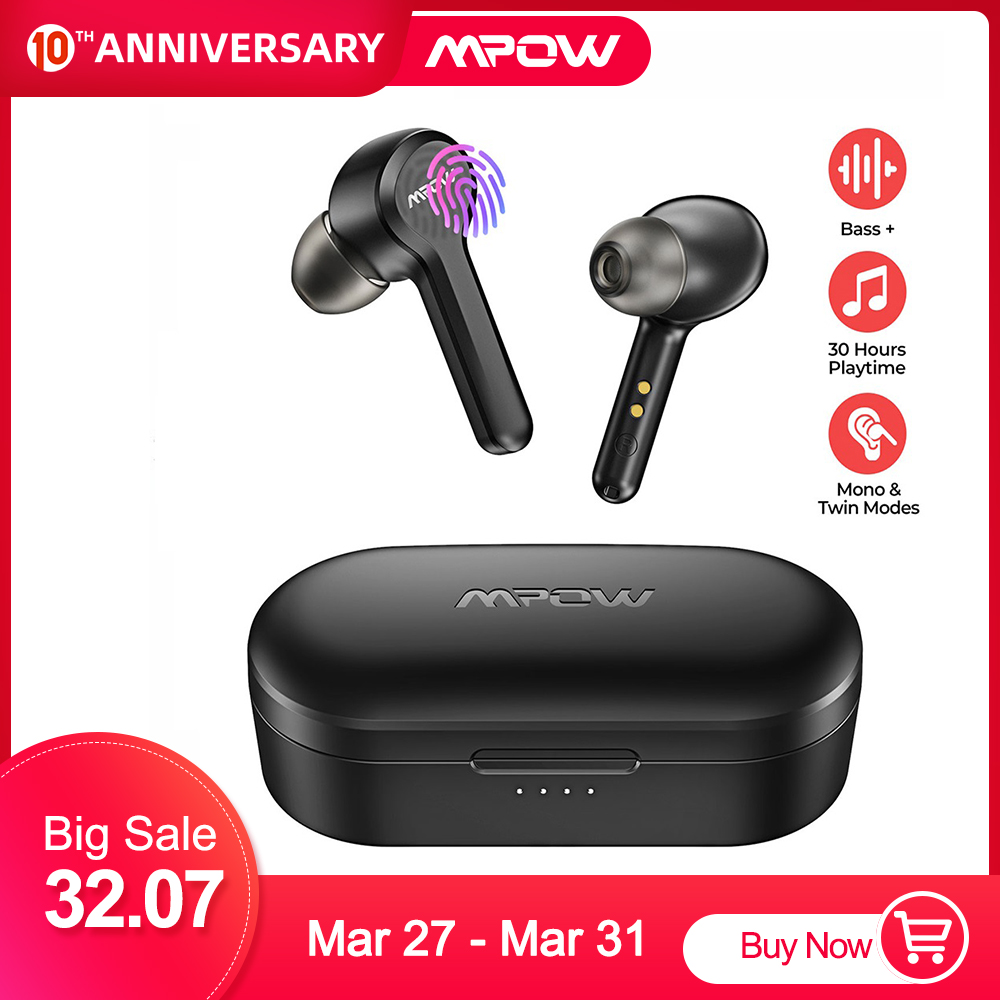 MPOW M9 In-ear Wireless Earbuds <font><b>Bluetooth</b></font> <font><b>5.0</b></font> Stereo IPX7 Waterproof Headphones with 30H Playtime for iOS Android <font><b>Smartphone</b></font> image