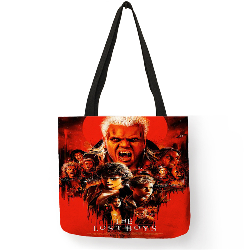 B01108 Horror Film Poster Killers Print Shoulder Bag Women Men Casual Handbags Retailer Club Wholesale Shopping Bags Reusable