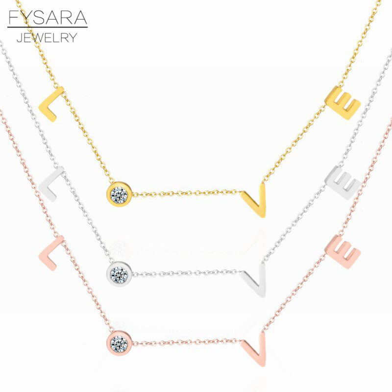 H692f3e36f9854d8aabda46ef20d8451bG - FYSARA Stainless Steel Round Crystal Pendants Necklace Couple Romantic Luxury LOVE Necklace for Women Choker Wedding Jewelry