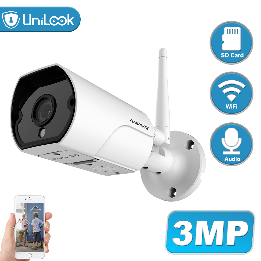 UniLook 2MP 1080P Bullet Wireless Camera Support 2-Way Audio Built In SD Card Slot Outdoor Security CCTV Camera IP66 H.264 P2P