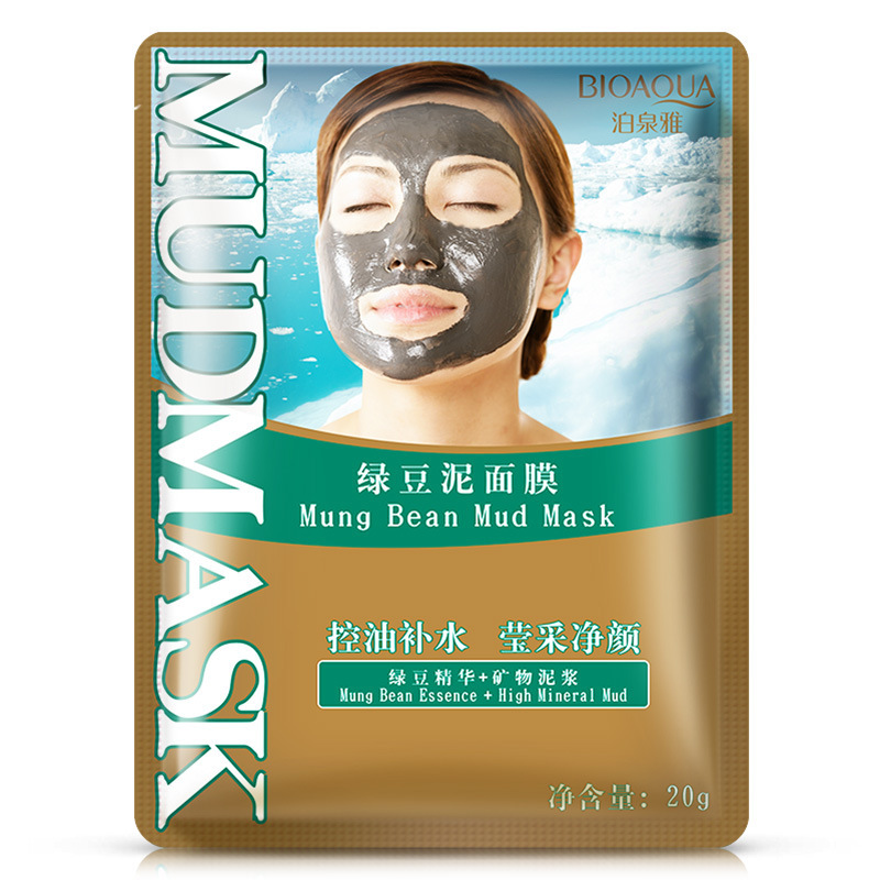 Bioaqua Green Mung Bean Mud Essence High Mineral Face Masks Whitening Anti Aging Shrink Pore Skin Care Wrapped Facial Mask