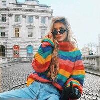 Радужные свитера с высоким воротом, женские зимние Джемперы, вязаный Модный Полосатый пуловер большого размера, женская оптовая продажа, Пр...