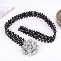 WOMEN'S leather belt elastic stretch black pearl flower chain belt fashion casual dresses and decorating sweet elegant women's