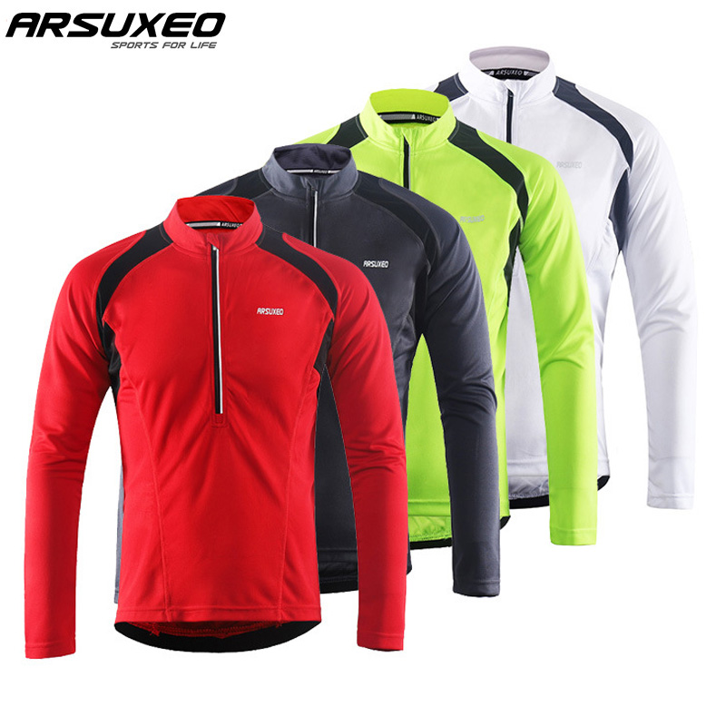ARSUXEO Men's Long Sleeve Cycling Jerseys Bicycle Bike Shirt MTB Mountain Bike Jersey Cycling Clothing Reflective Stripe Pockets image