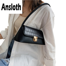 Ansloth Alligator Baguette Bag Women Luxury Handbag Lady Lock Shoulder PU Leather Crossbody Female Small HPS717