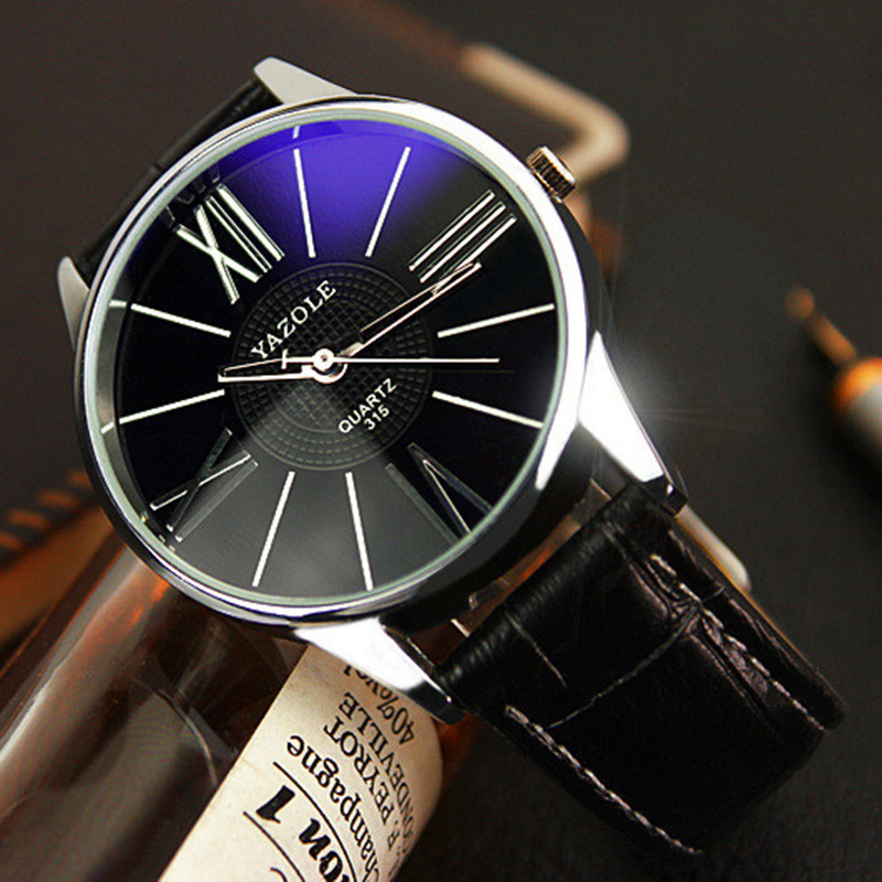 Luxury Top Brand Waterproof Watch Leather Mens Glass Quartz Analog Clock Wristwatch Black Citizen Watches Relogio Masculino