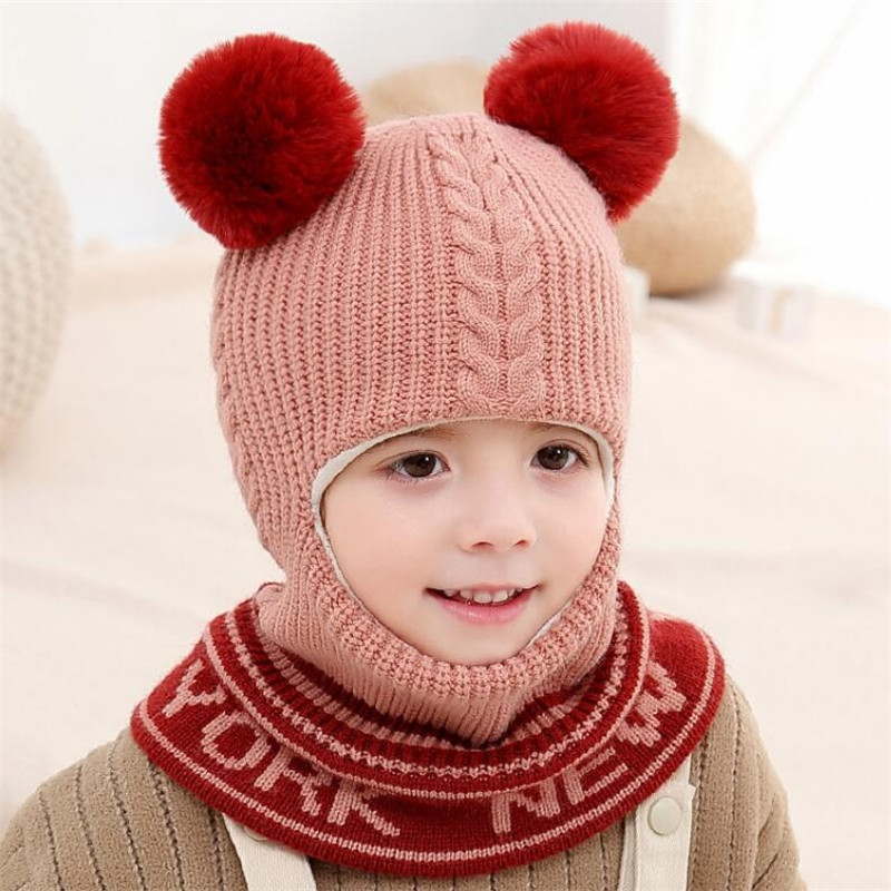 2019 Knitted Short Plush Hooded Scarf Kids Hat And Scarf Child Winter Warm Protection Ear Pom Pom Cap Scarves Girls Accessories