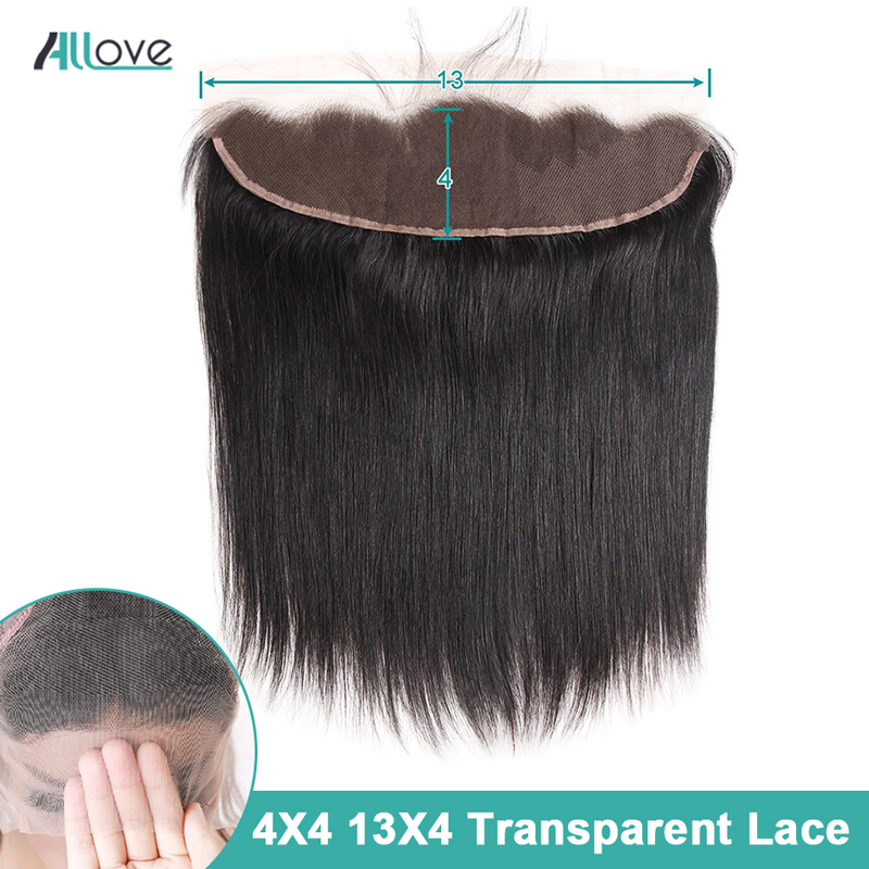 Allove Transparent Lace Closure 13x4 Ear To Ear Lace Frontal Pre Plucked Brazilian Straight Closure Non Remy 4X4 Lace Closure