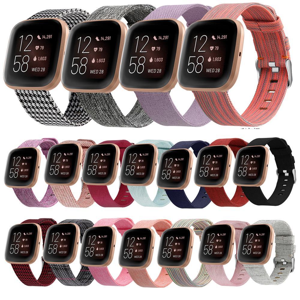 Para Fibit Versa correa de reloj inteligente de 2 bandas de nailon tejido correa para Fitbit Versa / Versa Lite accesorios de pulsera inteligente Cierre de Metal