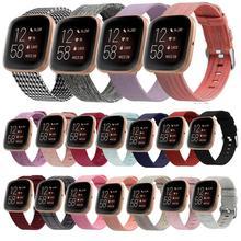 Pulseira de relógio para smartwatch, pulseira de nylon tecido trançado para fitbit versa/versa lite, acessórios de metal fecho fecho
