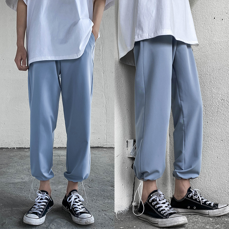 Summer Thin Casual Pants Men's Fashion Solid Color Straight Pants Men Streetwear Wild Loose Joggers Trousers Mens Track Pants