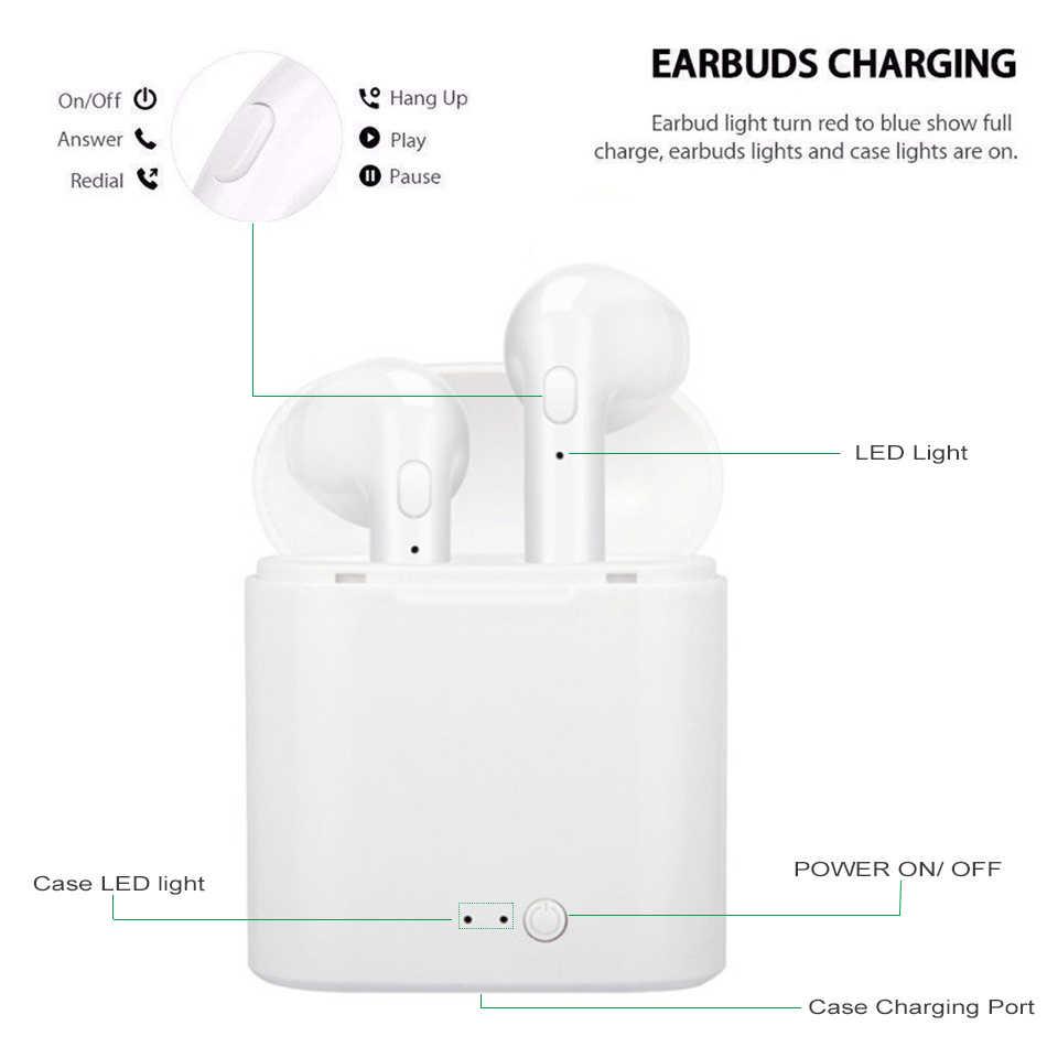 I7s Tws אלחוטי אוזניות Bluetooth אוזניות אוזניות דיבורית באוזן ספורט אוזניות עם טעינת תיבת מיקרופון עבור iPhone Xiaomi