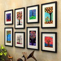 8 pcs/set Solid Wood Photo Frame Combination Wall Hanging Decoration Family Picture Frames For Paintings Sofa Background Frames