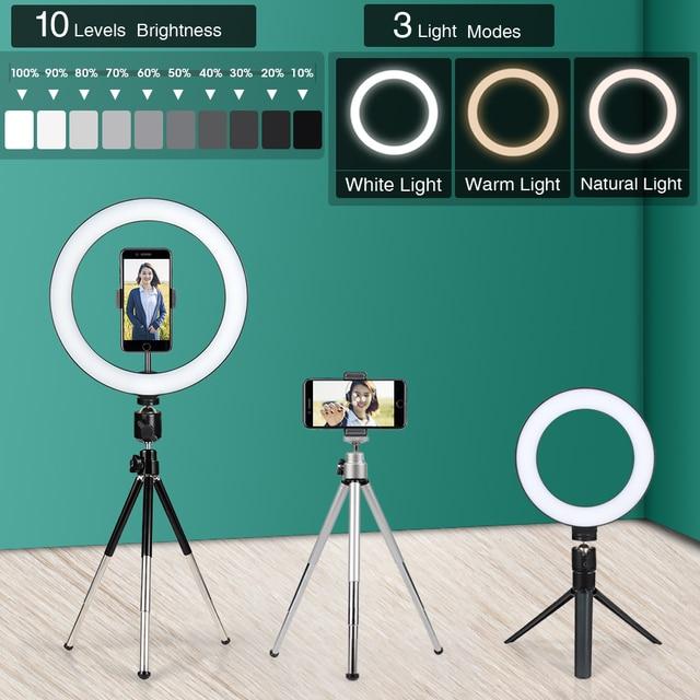 24cm צילום ברזל חצובה עבור טלפון נייד מחזיק אביזרי עם טבעת מנורת אור חצובה עבור Smartphone המצלמה Selfie st