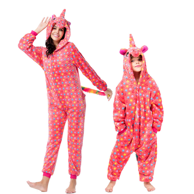 Image 4 - Kigurumi Adult Kids Unicorn Pajamas Animal  Stitch Mother and Daughter Family Matching Clothes Winter Flannel Women Kids Pyjamas-in Matching Family Outfits from Mother & Kids