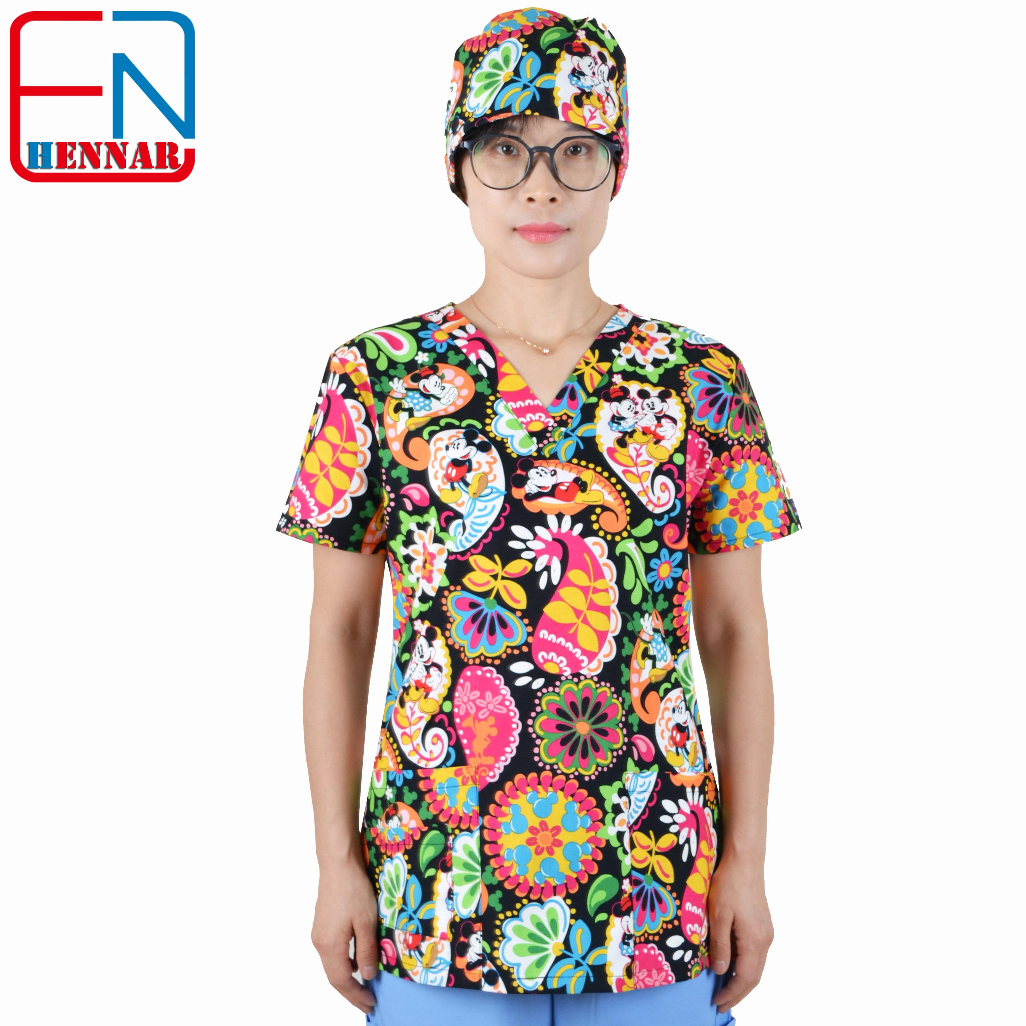 Hennar Medical Scrubs Nursing Scrubs Women Scrubs Nurse Medical Uniformes Medicos Para Mujer Scrub Tops+ Caps