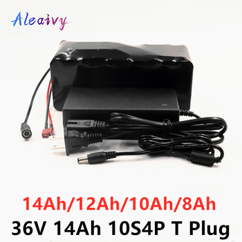 Aleaivy e-bike battery 36v 14ah 12ah 10ah 8ah li ion battery pack bike conversion kit bafang 1000w and charger T Plug + charger image