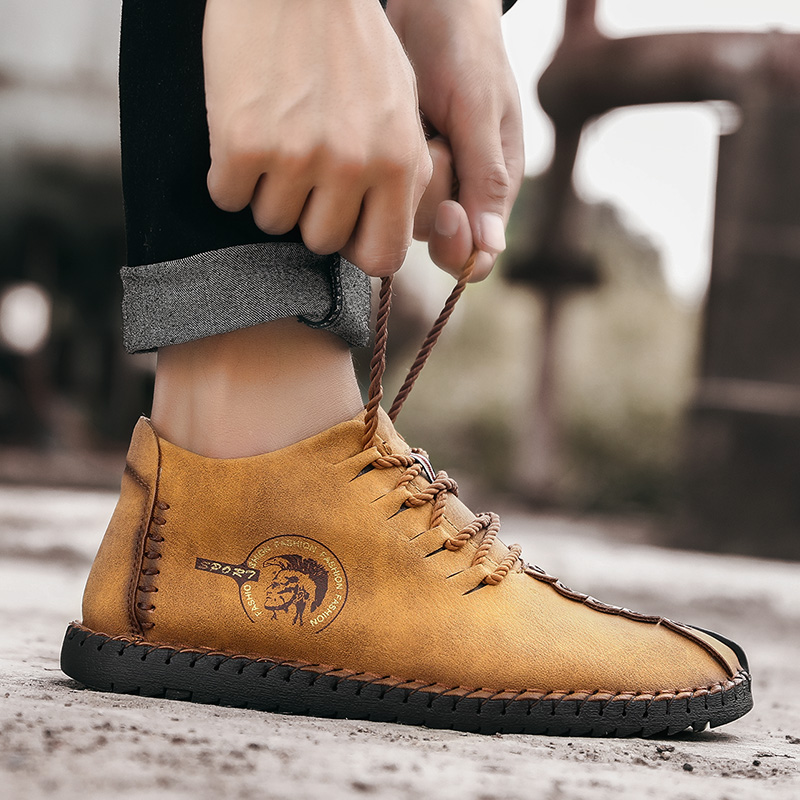 Big Size Casual High Top Leather Boots Ankle Men Winter Warm Leather Shoes Lace Up Ankle Men Work Shoes Safety Men Shoes